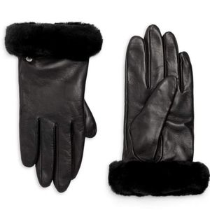 NEW - - UGG Shorty Shearling-Cuff Leather Gloves
